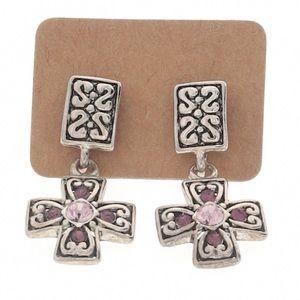 Silvertone dangle cross earrings pink rhinestone